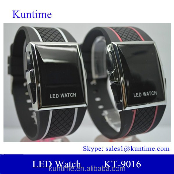 wrist watch canada hot Push switch led watch with red/white PU band