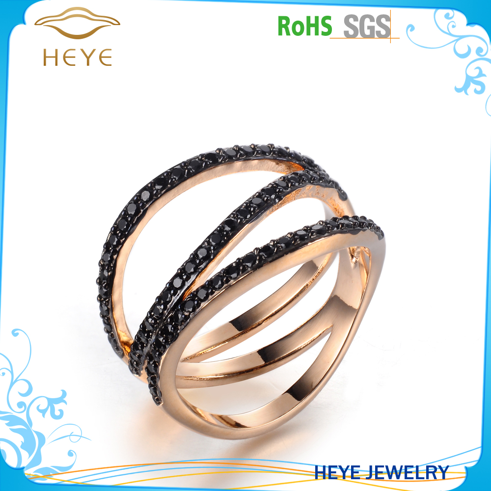 Ring big knuckles skinny fingers gold ring with black stone china jewelry factory