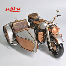 Handmade vintage motorcycle model with sidecar for home decor