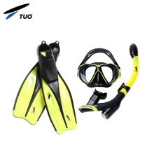 TUO Underwater Helmet 180 Silicone Easybreath Scuba Mask Snorkel And Fins Set