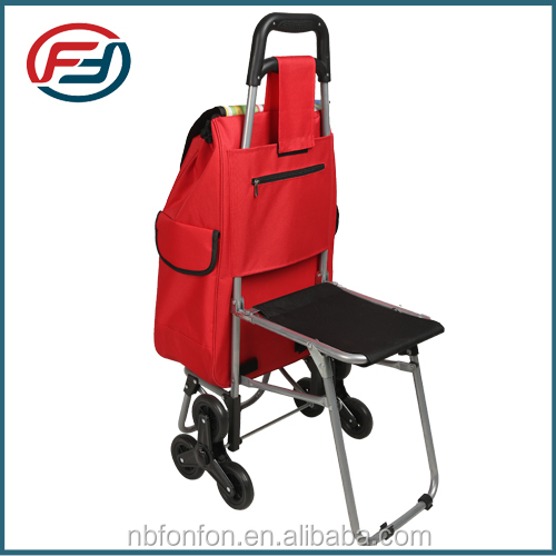 2016 popular foldable shopping trolley bag with seat