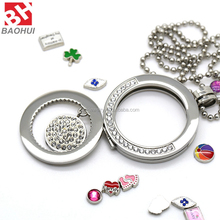 Baohui 31/34/39MM Stylish Floating Coin Locket With Crystal Stainless Steel Pendants Fashion Jewelry