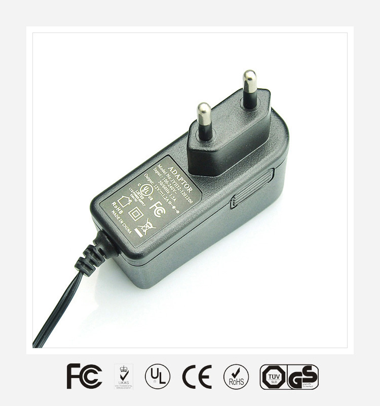 energy efficiency level VI 12V 1A wall ac dc universal power adapter