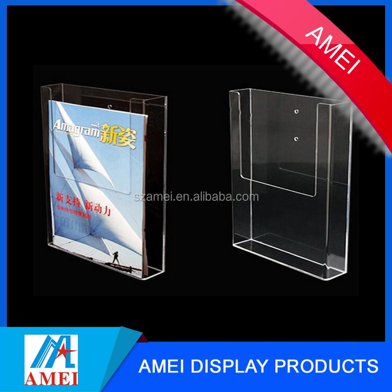 Wall mounted clear acrylic brochure book holder