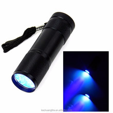 Wholesale Online 395nm 9 LED laser pointer uv light led flashlight torch buy torch online with purple color