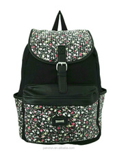 Black canvas backpack with digital printing Cotton canvas bag for girl