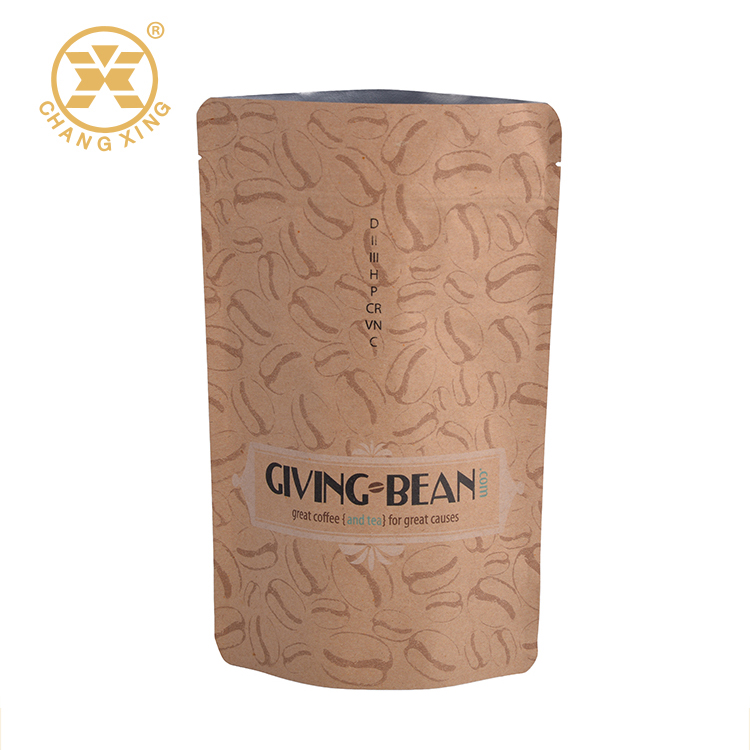 Custom printing plastic resealable coffee food packaging bag with valve and tin tie