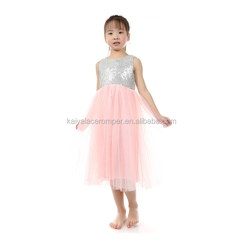 white sequin top pink back low collar wedding flower girl fairy dress dress with bow