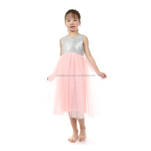 white sequin top pink back low collar wedding flower girl fairy dress fancy dress with bow