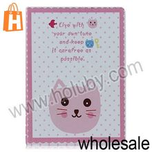 Cute Cartoon Cat Head Pattern Smart Awakening Flip Stand PC+Leather Case for iPad Air