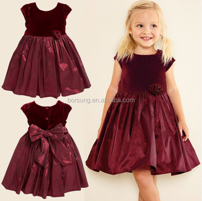 Autumnwinter Children Frocks Designs Baby Clothes Sweet Deep Velvet Free Prom Party Princess