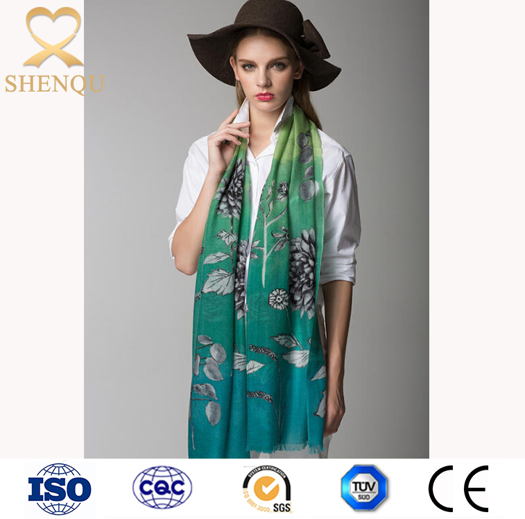 high quality women fashion printed 100%cashmere scarf shawl wraps wholesale