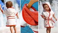 Kids Beach Bath Robe With Long Sleeve Terry Cloth Fabric 3 Color
