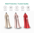 30W Bullet Car Charger with Quick Charge 3.0 and 2.4A Intelligent Charging Ports for iPhone 7/7Plus, Galaxy S8/S8+, honor, iPad