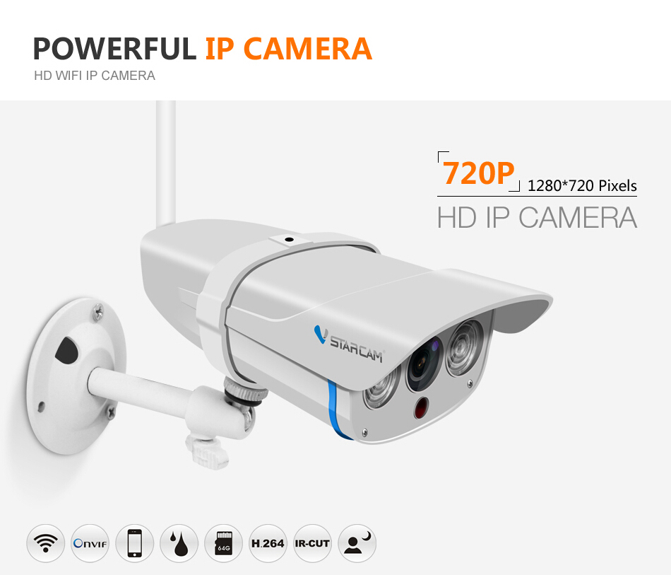 Wifi IP Camera C7816WIP 15M IR distance Wireless 720P Security Camera outdoor baby monitor apple
