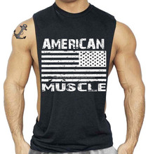 Black 100% Cotton Mens Muscle Deep Cut Tank Tops Custom Printed Mens Gym Tank Top American Flag Printed Tank Top