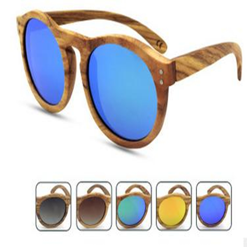 Dropship seaside school currant sunglass coin round color wood zebra sunglasses for ladies