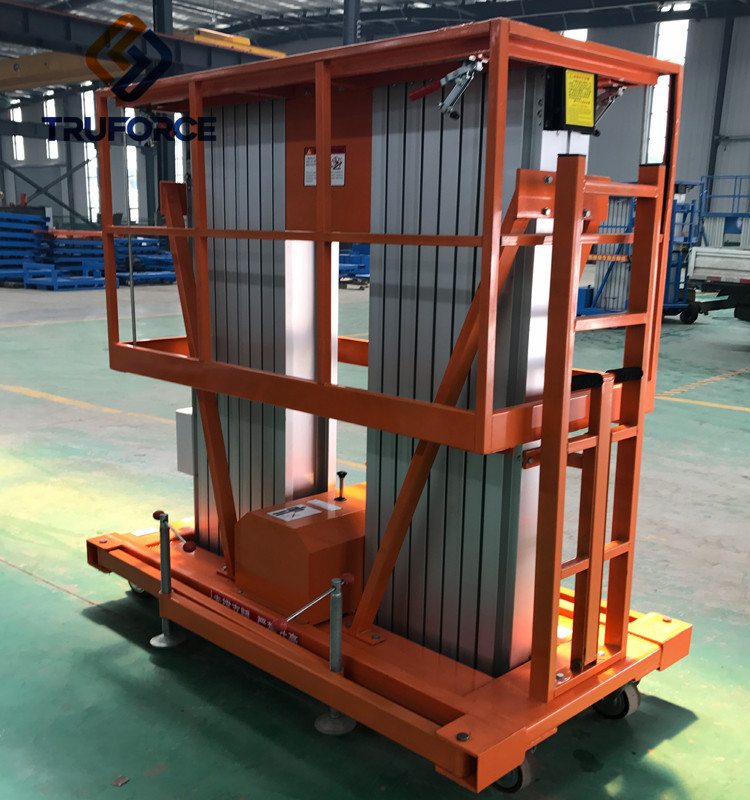 Electric Mobile 12M Double Mast Two Persons Hydraulic man lift