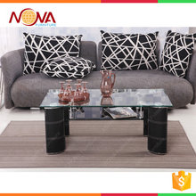 Chinese modern design living room furniture rectangle metal legs used glass tea table and chair set