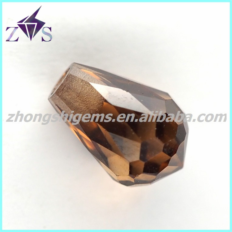 Half Hole Brown Color Teardrop Beads CZ for Jewelry Making