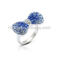 2013 bowknot costume jewelry, crystal ring,silver ring