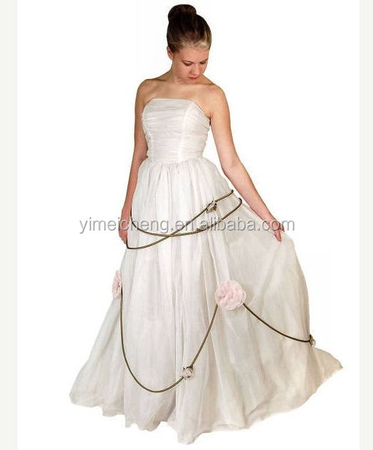 Top quality chiffon women's sleeveless long party gown mermaid wedding dress