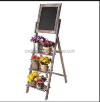 Artfully display potted plants / Outdoor Wooden flower stand / Three tier display rack with chalkboard header