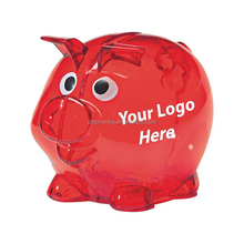 Promotional Kids Transparent hard plastic cartoon piggy coin bank, piggy toy for kids