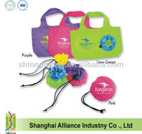 Custom Logo Reusable Polyester Pouch Bag/Promotional Folding Shopping Tote Bag