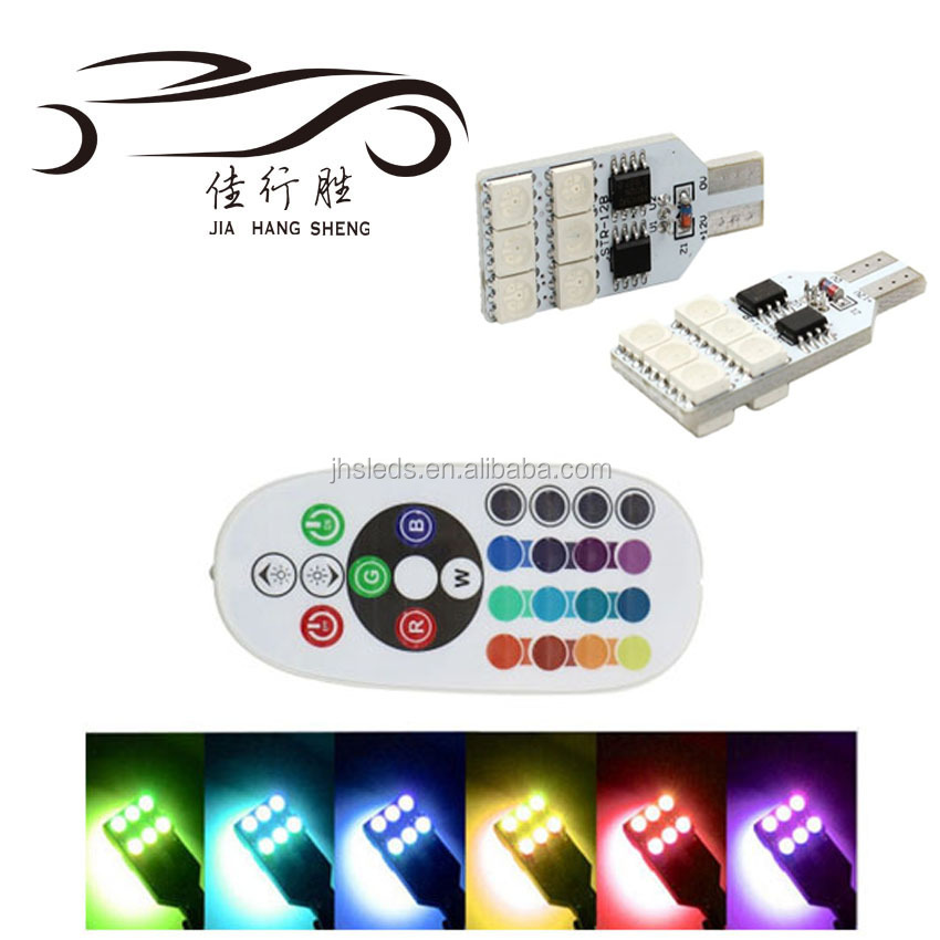 T10 5050 12SMD RGB with control LED Remote Control White Blue Green Red Auto Clearance Lights Width Lamp Car Accessories
