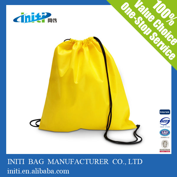 Promotional high quality disposable plastic cute drawstring backpack bag