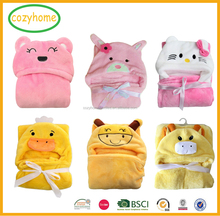 12 Colors 3D Baby hooded towel soft flannel Hooded Animal Baby Bathrobe Soft Cartoon Baby Towel Character Kids hooded blanket