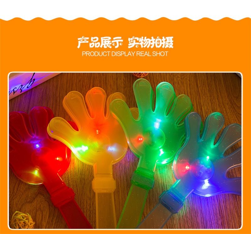 lighting glow plastic toy cheering hand clapper with logo,hand clap Noise Maker toy for football fan and promotional gift