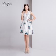 Caijia 2017 Floral Print Sleeveless Low V-Neck Ball Gown Cocktail Short Evening Dress With Pocket