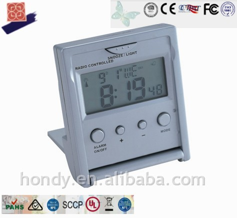 New Mini RC LCD Table Alarm Clock With Temperature Display, DCF / WWVB