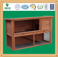 Double-deck Wooden Rabbit Cage