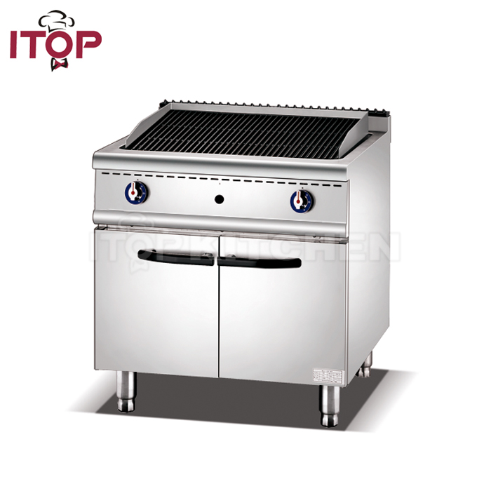 sale Commercial Gas Barbecue Grill/Lava Rock Grill with Cabinet