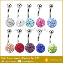 Pink Crystal 316L Stainless Steel Double Shamballa Navel Rings Belly Button piercing