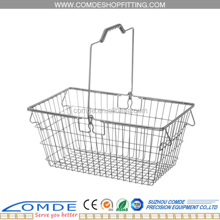 Chrome plated metal shopping basket storage wire basket with long handle