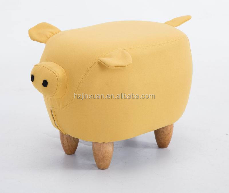 WN1304 Promotional popular pu leather indian pig assorted animals ottoman foot stool cow leather pouf pig stool in wood legs