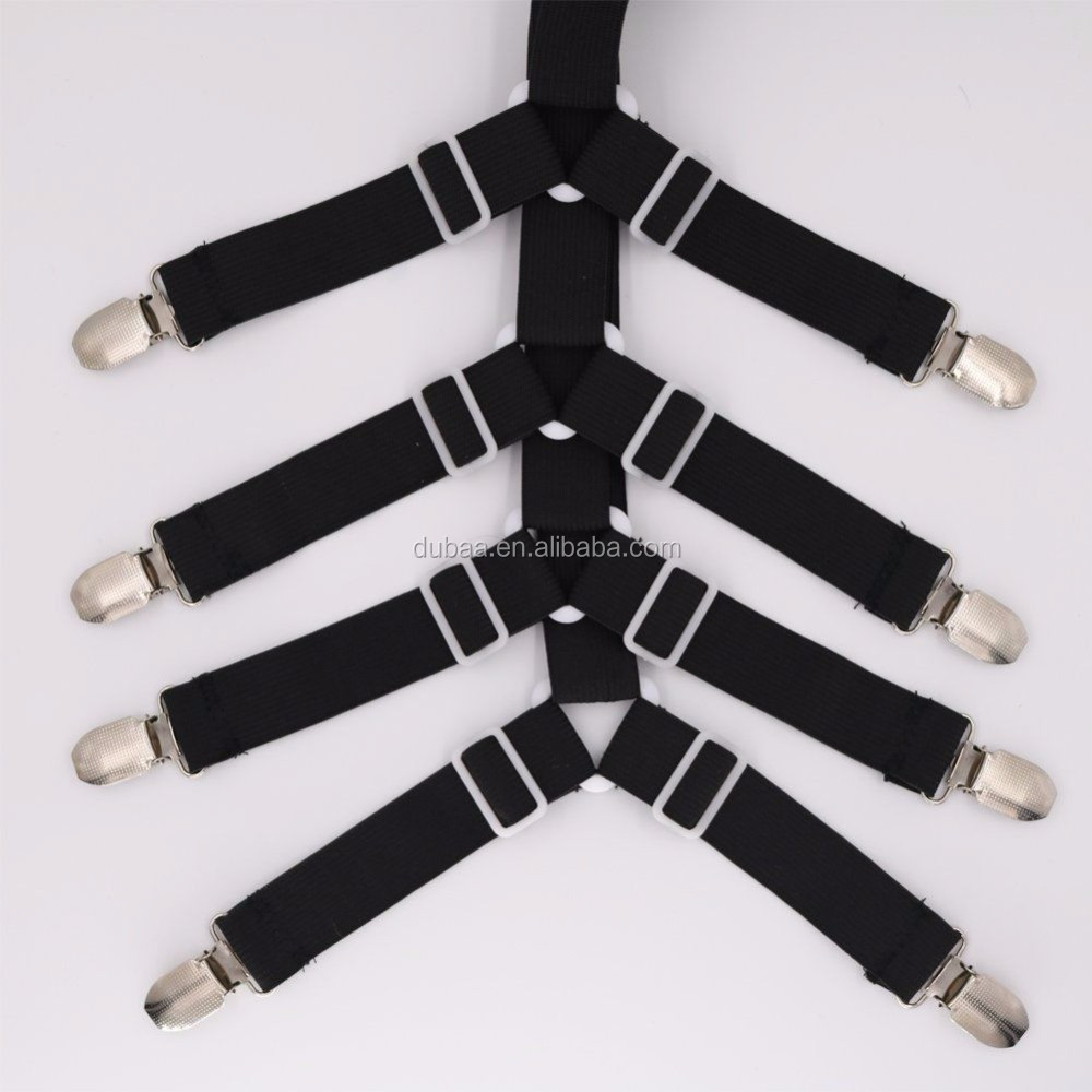 Dubaa Crisscross Bed Fitted Sheet Fasteners Strap Grippers Suspenders Mattress 4 Black