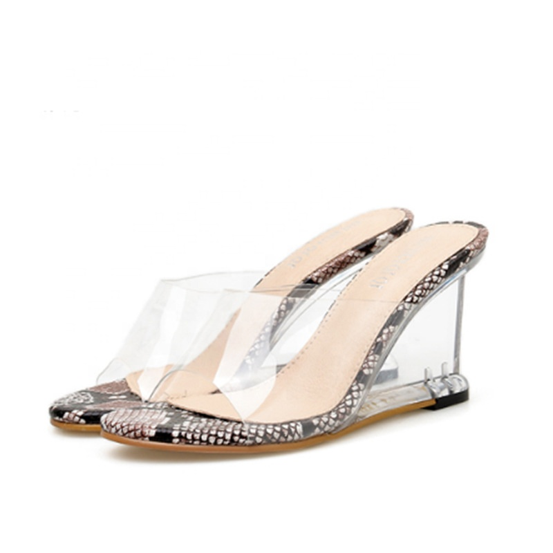 2019 new fashion comfortable heel women <strong>sandals</strong> slipper ladies high heel pvc perspex slides shoes wedge heel <strong>sandals</strong> shoes