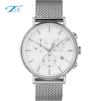 Custom Stainless Steel Watch Mesh Band Japan Quartz Movement Wrist Watches for Men