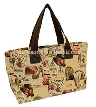 medium-sized imitation pu leather doodle tote bag