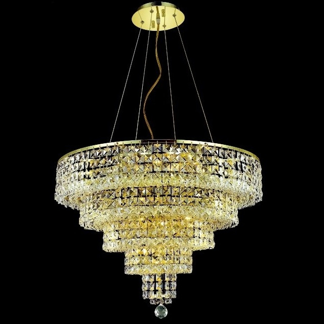 14 Lights Modern Circular Golden Crystal Chandelier Chain Hanging/Pendant Lighting/Lamp