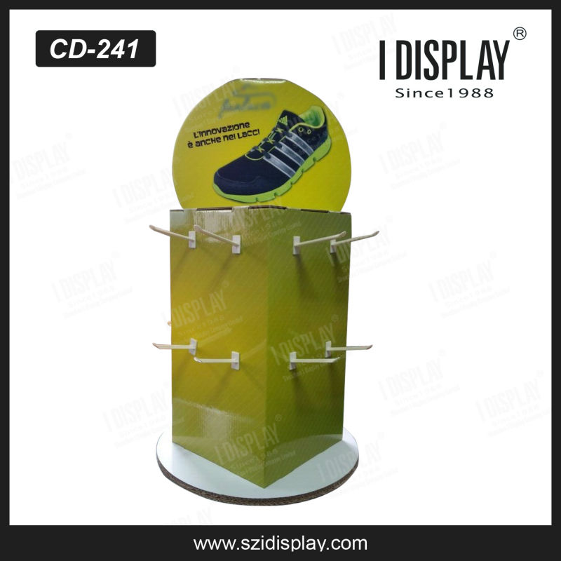 3 sided rotating counter hanging display with plastic hooks for shoelace