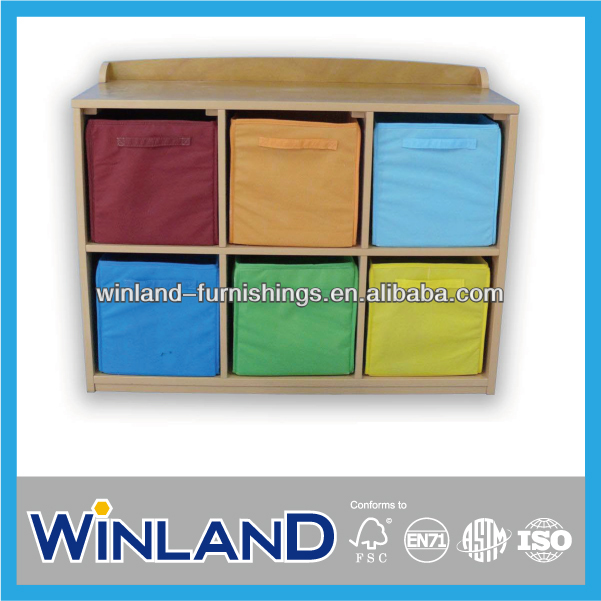 Wooden Color Blocking Toy Organizer For Kids