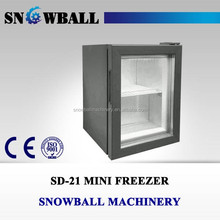 21L-70L Glass Display Ice Cream Freezer, Led Commercial mini freezer glass door