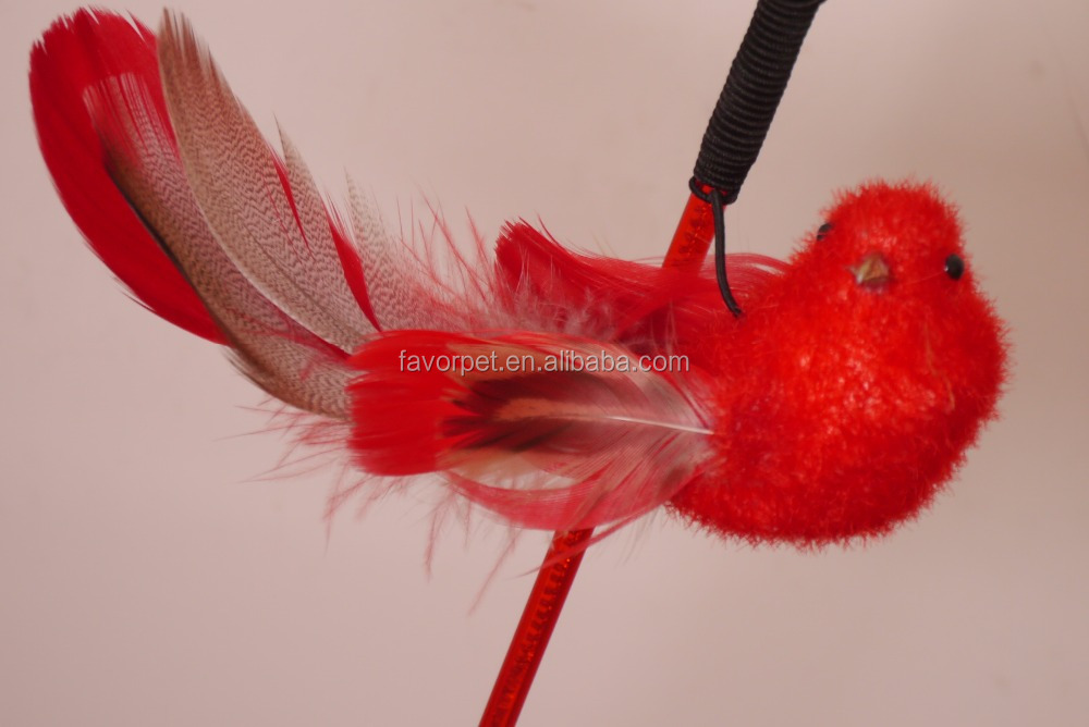 Colorful Feather interactive bird toy feather teaser cat toy