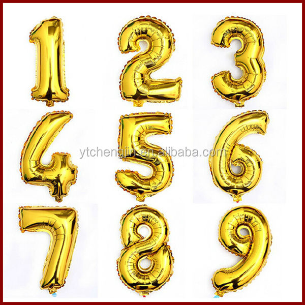 10 number from zero to nine foil balloon